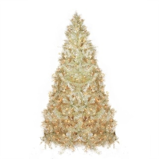 9' Pre-Lit Sparkling Champagne Full Artificial Tinsel Christmas Tree - Clear Lights