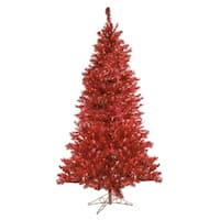 7.5' Sparkling Ruby Pre-Lit Laser Tinsel Artificial Christmas Tree - Ruby Lights