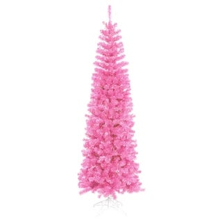 12' Pre-Lit Hot Pink Artificial Pencil Tinsel Christmas Tree - Pink Lights