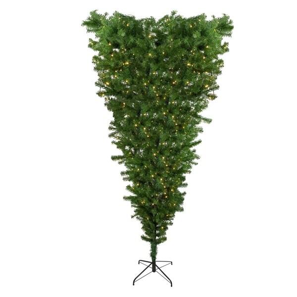 "Lead Free Christmas Trees: Shop 7.5' X 55"" Pre-Lit Upside Down Spruce Artificial"