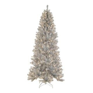 75 pre lit silver tinsel noble pine artificial christmas tree clear lights
