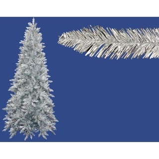 7.5' Pre-Lit Silver Ashley Spruce Artificial Tinsel Christmas Tree -Clear Lights