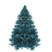 7.5' Pre-lit Shimmering Blue Green Peacock Color Theme Tinsel Christmas Tree