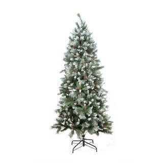 7u0027 prelit mixed snow pine artificial christmas tree clear lights