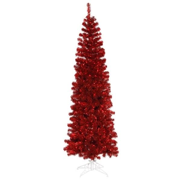 10 pre lit red hot artificial pencil tinsel christmas tree red - Pre Lit Pencil Christmas Tree