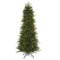 6.5' Pre-Lit Slim Vermont Fir Instant Shape Artificial Christmas Tree - Clear