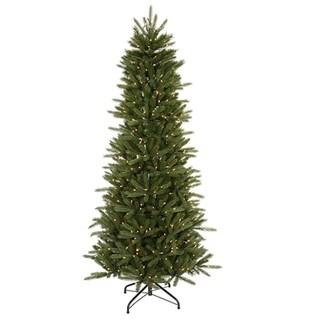 6.5' Pre-Lit Slim Vermont Fir Instant Shape Artificial Christmas Tree - Clear