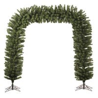 9' x 8' Huge Pre-Lit Green Pine Artificial Christmas Archway Decoration - Clear Lights - N/A