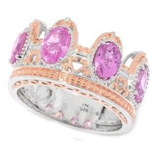 Michael Valitutti Palladium Silver Pink Sapphire Four-Stone Crown Ring