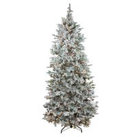 7.5' Pre-Lit Flocked Slim Colorado Spruce Artificial Christmas Tree - Clear Lights
