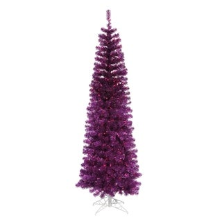 9' Pre-Lit Purple Artificial Pencil Tinsel Christmas Tree - Purple Lights