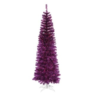 9' Pre-Lit Purple Artificial Pencil Tinsel Christmas Tree - Purple Lights