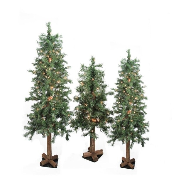 Shop Set of 3 Pre-Lit Woodland Alpine Artificial Christmas ...