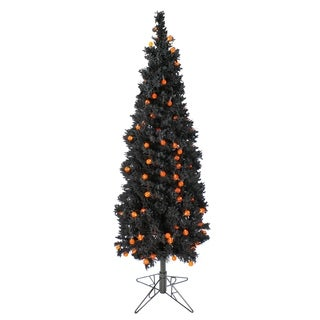 6.5' Pre-Lit Black Flocked Artificial Halloween Tree - Orange G25 LED Lights