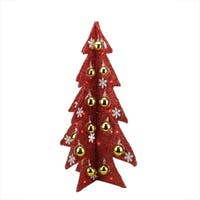 """28"""" Battery Operated Decorated Red Tinsel LED Lighted Christmas Tree Table Top Decoration"""