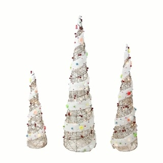 """Set of 3 Lighted Champagne Gold Rattan Candy Covered Cone Tree Christmas Yard Art Decorations 39.25"""""""
