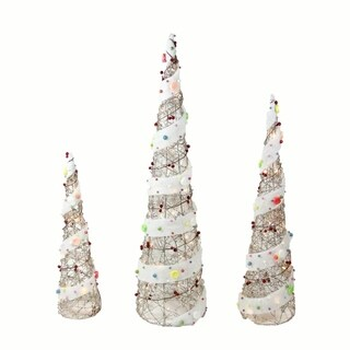 Set of 3 Lighted Champagne Gold Rattan Candy Covered Cone Tree Christmas Yard Art Decorations 39.25""