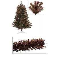 3' Pre-Lit Sparkling Chocolate Brown Artificial Christmas Tree - Clear Lights