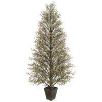 "64"" Potted Gold & Black Glittered Berry Christmas Tree #XBZ729-GO"