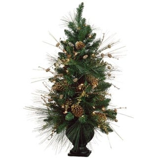 "40"" Pre-Decorated Gold Pine Cone Artificial Christmas Tree - Clear Lights"