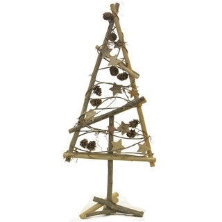 "23"" Natural Twig with Pine Cones and Stars Christmas Tree Tabletop Decoration"