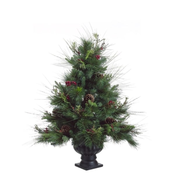 3 potted pine artificial christmas tree with pine cones and berries unlit - Potted Artificial Christmas Trees