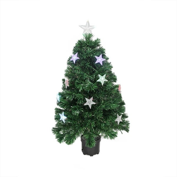 4' Prelit Led Color Changing Fiber Optic Artificial Christmas