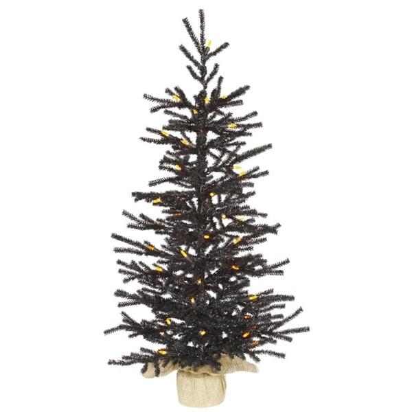 3 X 19 Pre Lit Black Pistol Pine Artificial Christmas Tree In Burlap Base Orange Led Lights