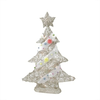 """22"""" Pre-Lit Champagne Gold Glittered Rattan Candy Covered Christmas Tree Table Top Decoration"""