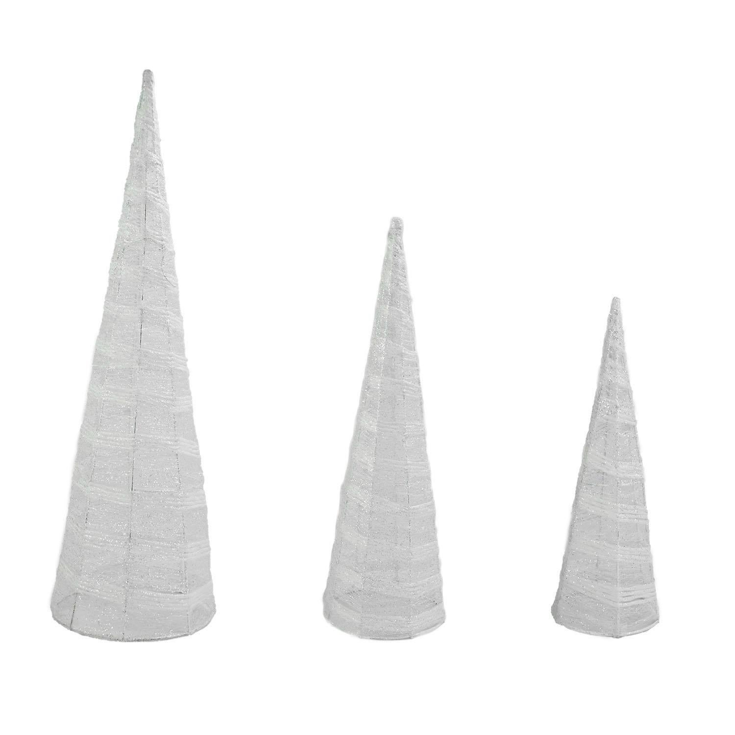Set of 3 White and Silver Glittered Cone Tree Christmas T...