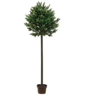 4' Potted Short Needle Balsam Pine Artificial Christmas Topiary Tree - Unlit