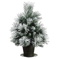 """28"""" Potted Snowy Flocked Mixed Pine Artificial Christmas Tree - Unlit"""