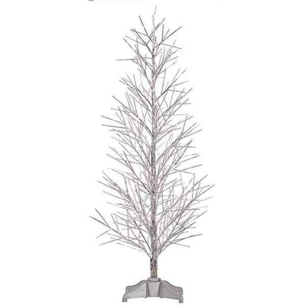 4' Pre-Lit Battery Operated Silver Fiber Optic Christmas Twig Tree - - Shop 4' Pre-Lit Battery Operated Silver Fiber Optic Christmas Twig