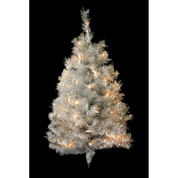 3 pre lit silver tinsel artificial christmas wall tree clear lights - Silver Tinsel Christmas Tree