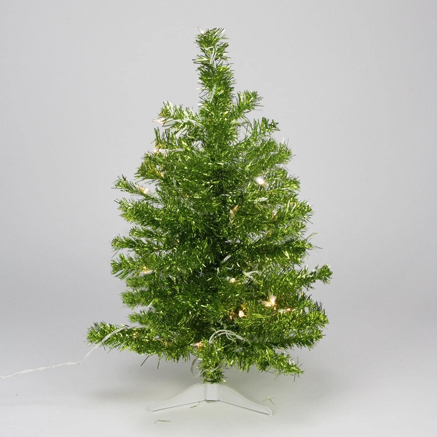 2' Pre-lit Pardise Lime Green Tinsel Pine Artificial Chri...