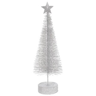 Pack of 2 Silver Splendor Glitter Sisal Artificial Table Top Christmas Trees 12""