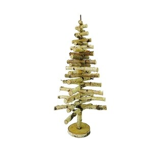 "25.5"" Country Cabin Decorative Movable Wooden Birch Bark Christmas Tree"
