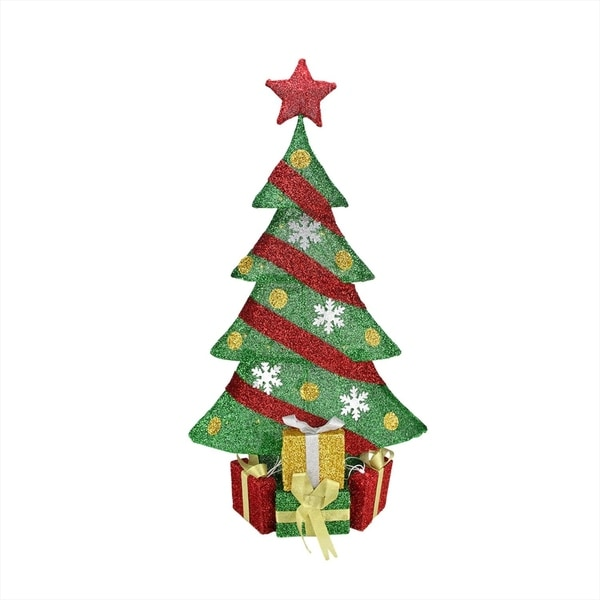 """Shop 39"""" Lighted Green And Red Tinsel Decorated Christmas"""