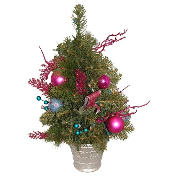 2 pre lit pink candy fantasy decorated artificial christmas tree clear - Pre Decorated Artificial Christmas Trees