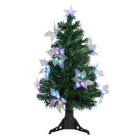 3' Pre-Lit Fiber Optic Artificial Christmas Tree with Flowers - Multi Lights