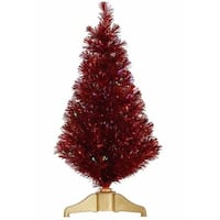3' Red Hot Fiber Optic Artificial Tinsel Christmas Tree - Multi Lights