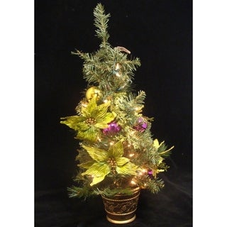 "31"" Lime Green Poinsettia Pre-Lit Decorated Christmas Tree - Clear Lights"