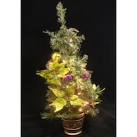 """31"""" Lime Green Poinsettia Pre-Lit Decorated Christmas Tree - Clear Lights"""