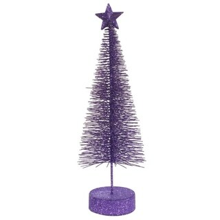 Pack of 2 Purple Glitter Sisal Artificial Table Top Christmas Trees 8""