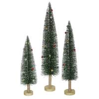 Set of 3 Whimsical Glittered Artificial Mini Village Christmas Trees - Unlit - N/A