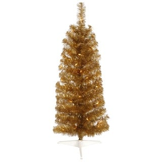 2' Pre-Lit Antique Gold Pencil Artificial Tinsel Christmas Tree - Clear Lights