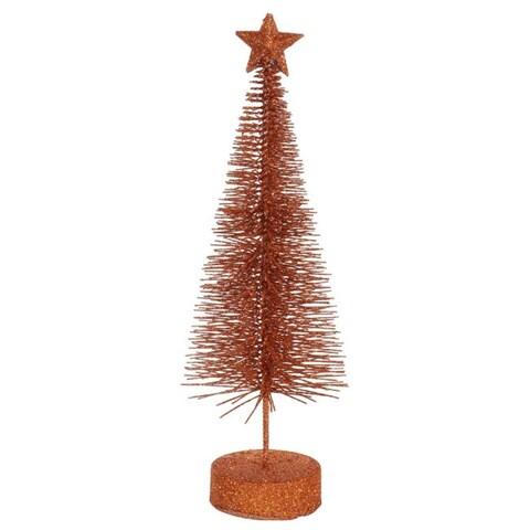 "Pack of 2 Burnt Orange Glitter Sisal Artificial Table Top Christmas Trees 8"""