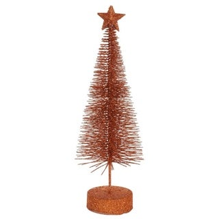 Pack of 2 Burnt Orange Glitter Sisal Artificial Table Top Christmas Trees 8""