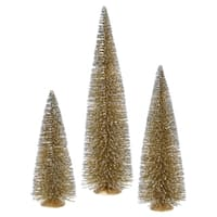 Set of 3 Whimsical Gold Glitter Artificial Mini Village Christmas Trees - Unlit - N/A