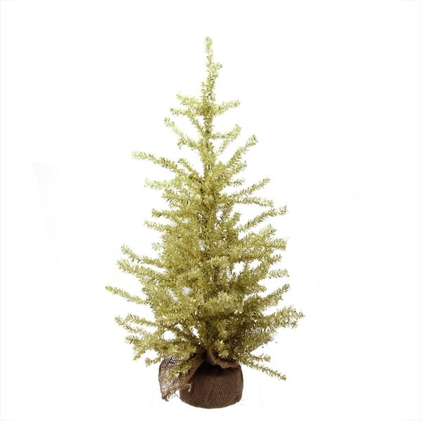 2 x 12 champagne gold tinsel artificial christmas tree in burlap base